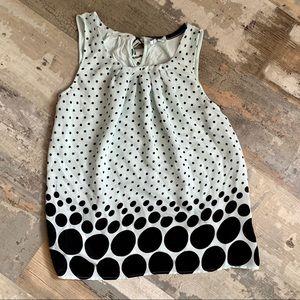 Elle mint and black polka dot sleeveless blouse